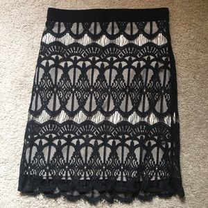 Deco goth stretch midi mini skirt lace M